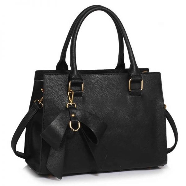 LS00374C-BLACK_ Faux Leather Handbag With Bag Charm (1)