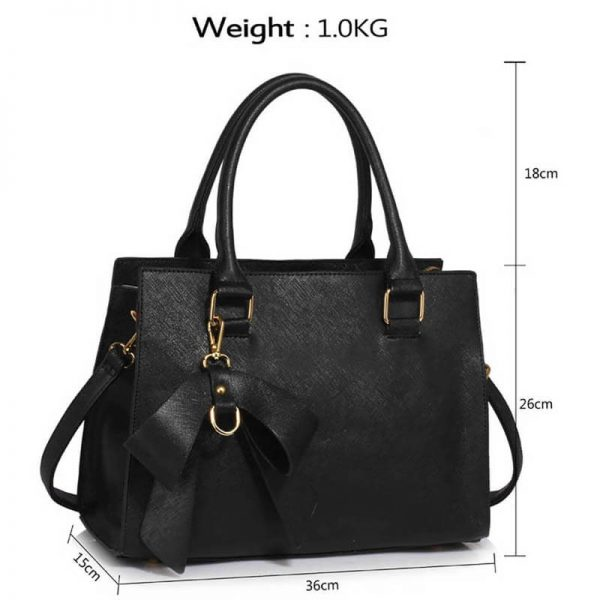 LS00374C-BLACK_Faux Leather Handbag With Bag Charm (4)