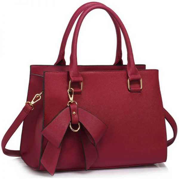 LS00374C-BURGUNDY_Faux Leather Handbag With Bag Charm (1)