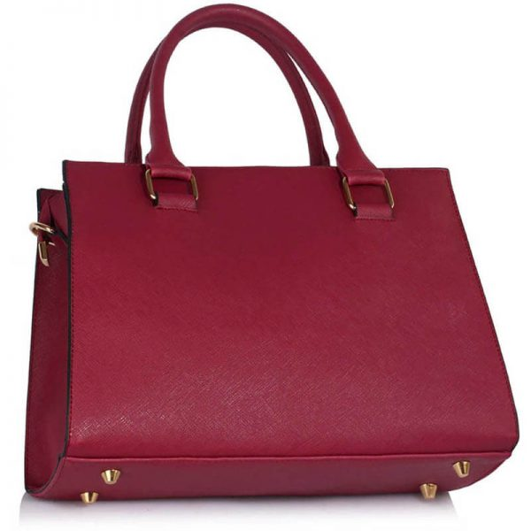 LS00374C-BURGUNDY_Faux Leather Handbag With Bag Charm (2)