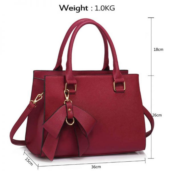 LS00374C-BURGUNDY_Faux Leather Handbag With Bag Charm (4)