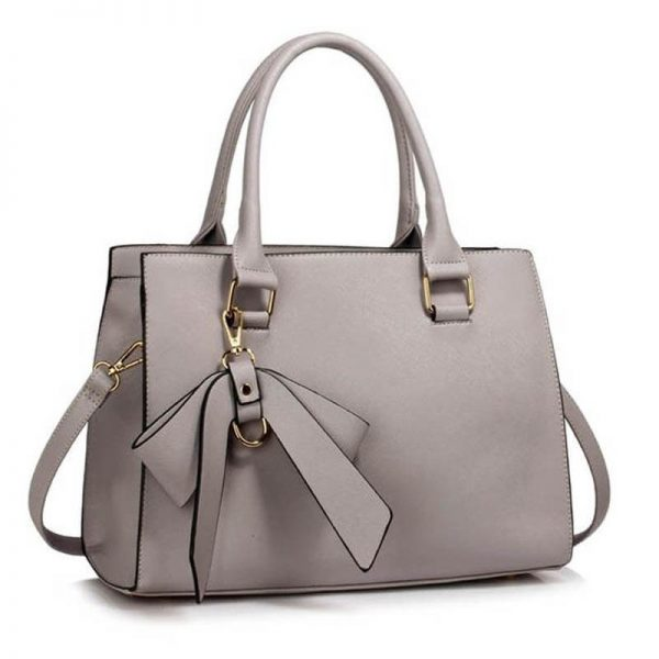 LS00374C_Grey Faux Leather Handbag With Bag Charm 1