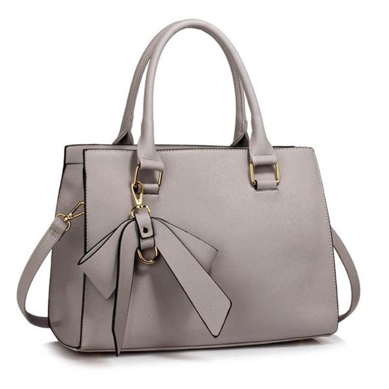 Grey Faux Leather Handbag With Bag Charm