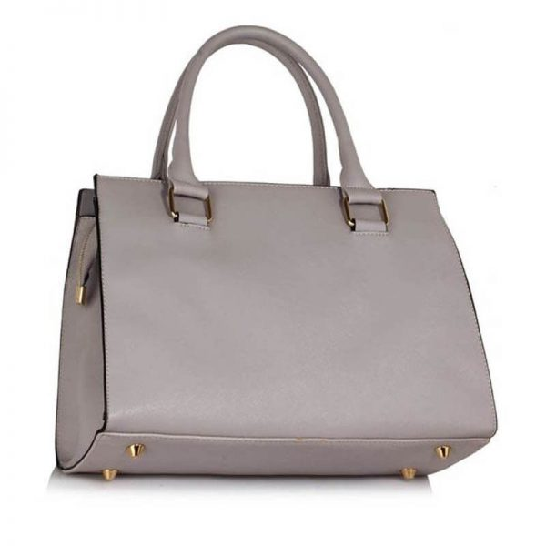 LS00374C_Grey Faux Leather Handbag With Bag Charm 2