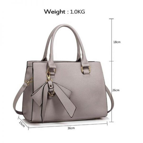 LS00374C_Grey Faux Leather Handbag With Bag Charm