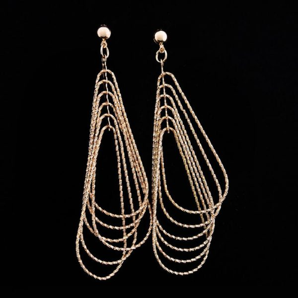 Long Gold Tassel Earring For Party Wedding AE88-