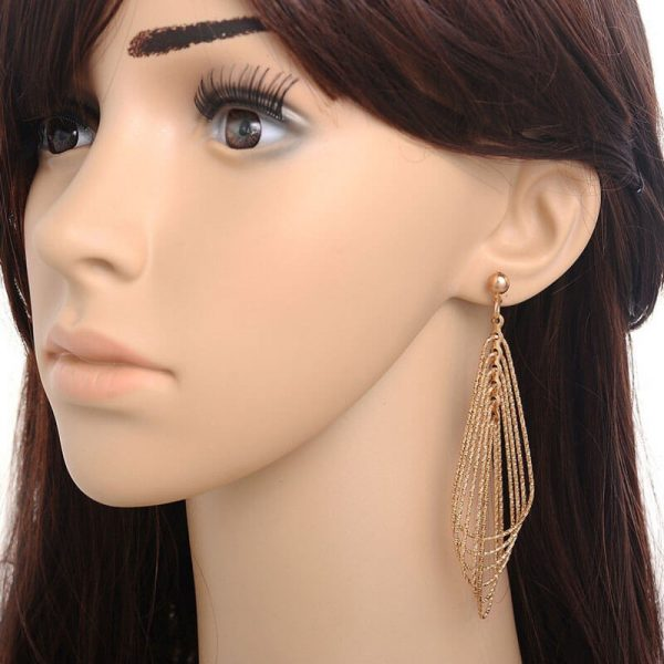 Long Gold Tassel Earring For Party Wedding AE88–