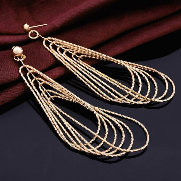 Long Gold Tassel Earring For Party Wedding AE88