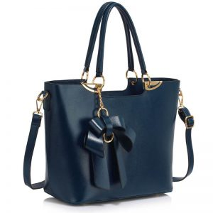Navy Bow-Tie Shoulder Handbag