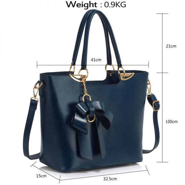 Navy Bow-Tie Shoulder Handbag – LS00348A_4_