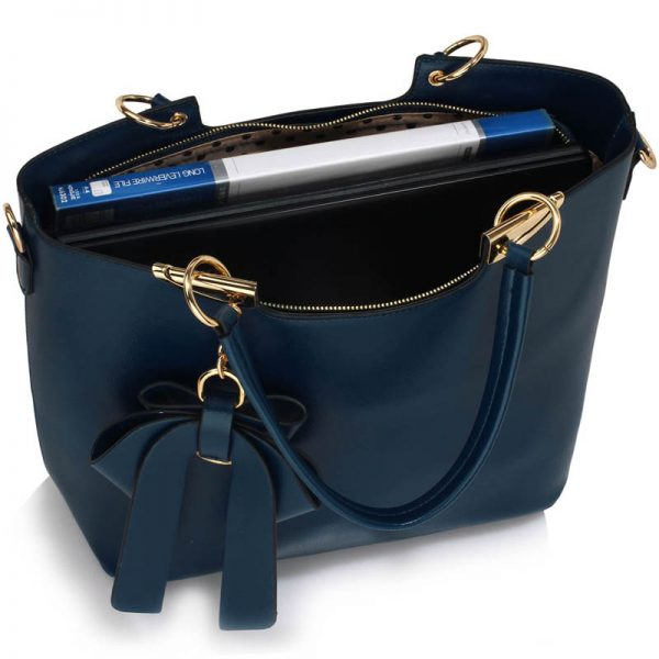 Navy Bow-Tie Shoulder Handbag – LS00348A_5_