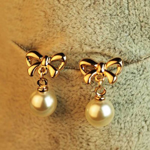 Pearl Butterly Gold Earring AE81–