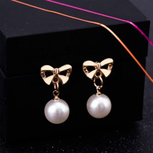 Pearl Butterly Gold Earring