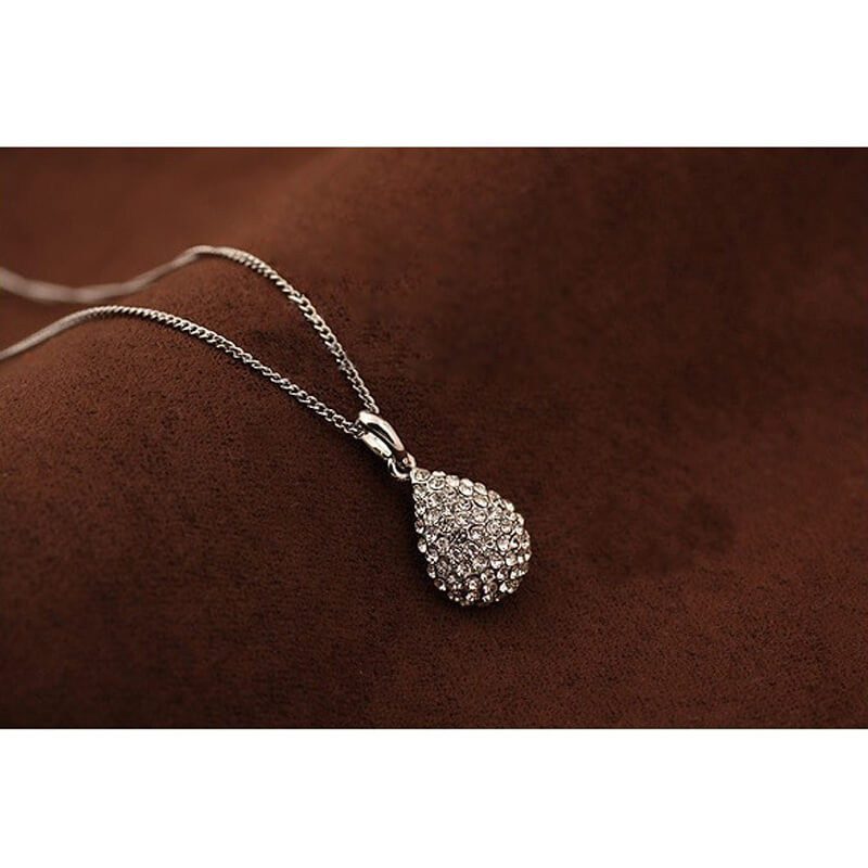Pendant Necklace With Diamantes - Silver