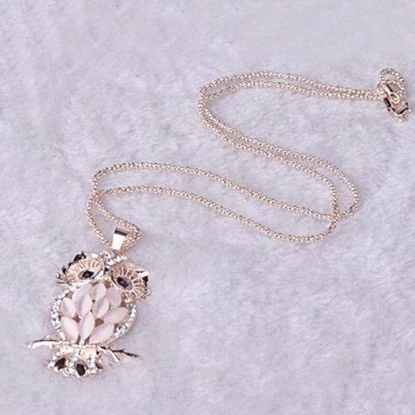 SilerGold Owl Party Necklace For Her AN92–
