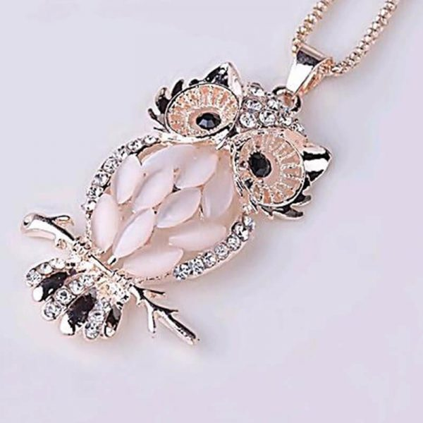 Silver Gold Owl Party Necklace For Her AN92