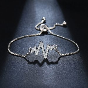 Silver Adjustable Bracelet With Diamantes