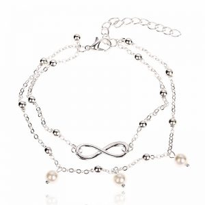 Silver Adjustable Chain Anklet Ladies Footwear