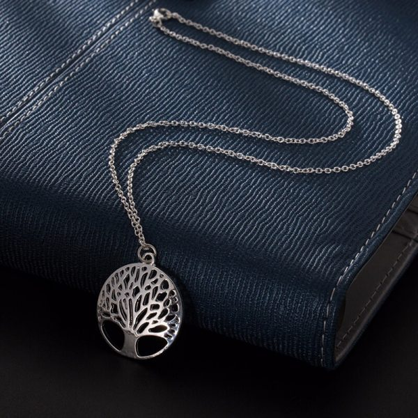 Tree Necklace Long Silver AN93-