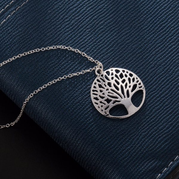 Tree Necklace Long Silver AN93–