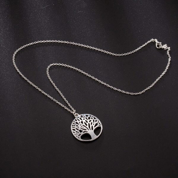 Tree Necklace Long Silver AN93—