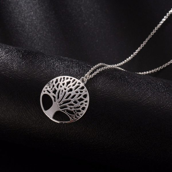 Tree Necklace Long Silver AN93
