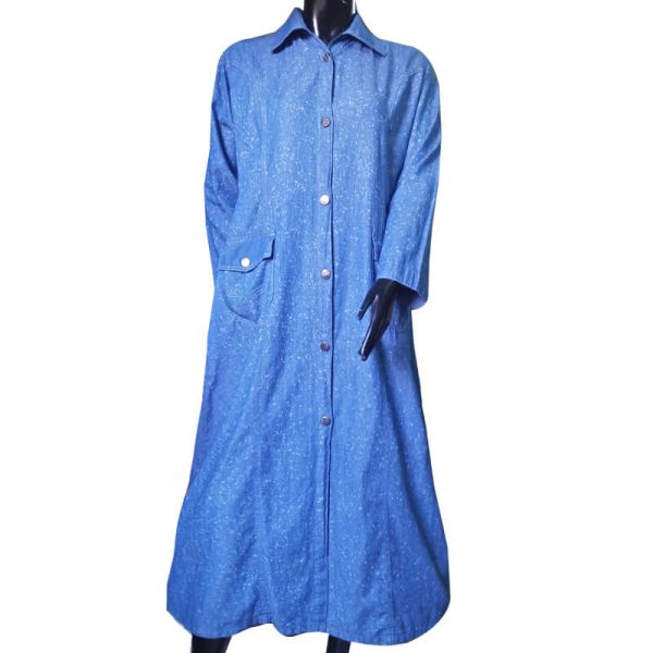 ZA02 Blue Soft Denim Abaya – 2 Front Pockets – Front Button Design