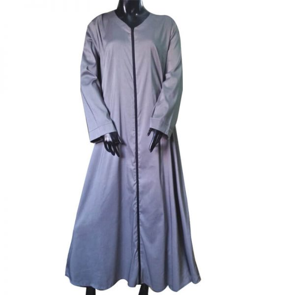 ZA04 V Neck Front Full Zip Style Abaya Coat