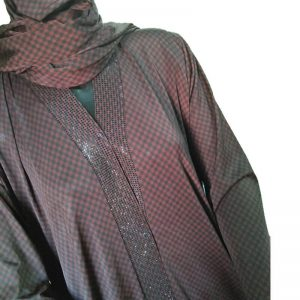 Check Print Beads Design Jersey Abaya With Matching Scarf
