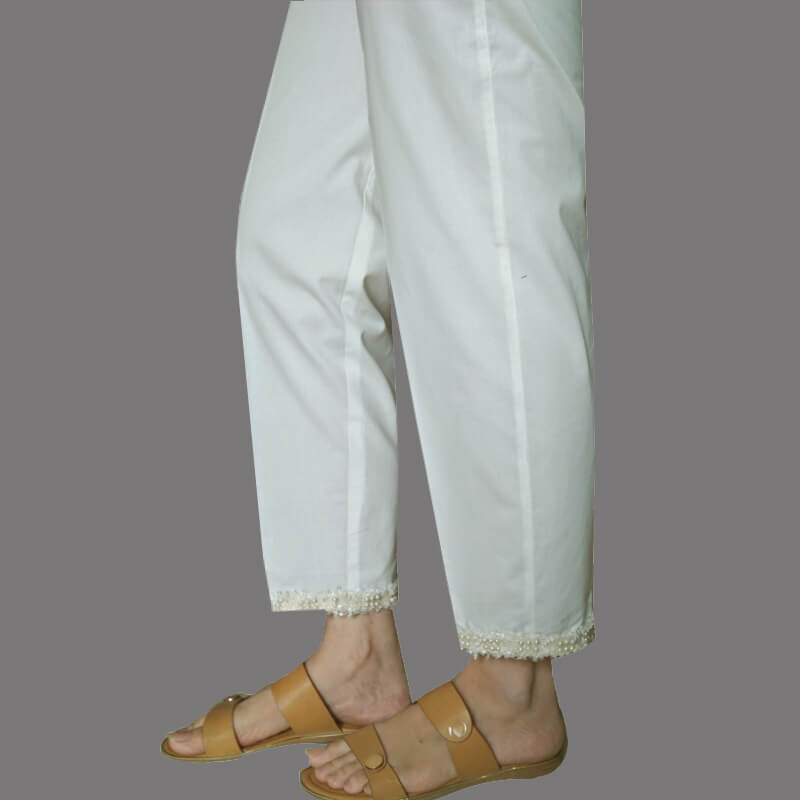 Off-White - Trouser Pant With Pearl Lace