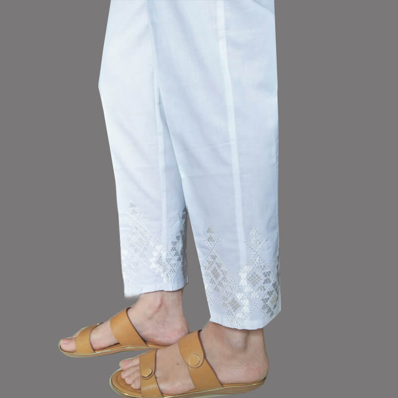White Embroided Trouser Pant