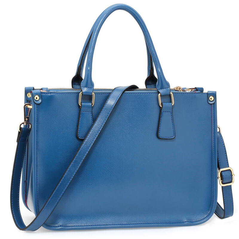 Blue 3 top Zip Blue Tote Handbag