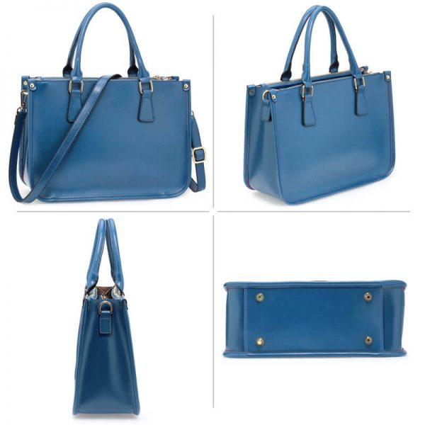 AG00184NEW – Blue 3 top Zip Blue Tote Handbag_2_