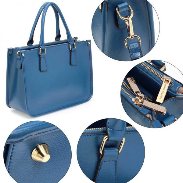 AG00184NEW – Blue 3 top Zip Blue Tote Handbag_3_