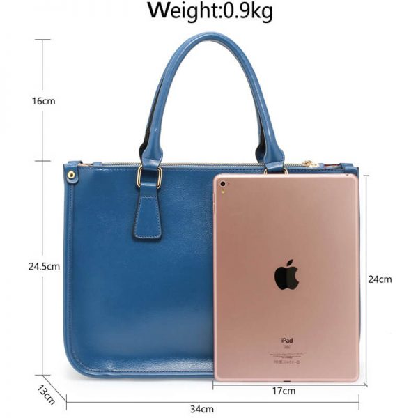 AG00184NEW – Blue 3 top Zip Blue Tote Handbag_5_