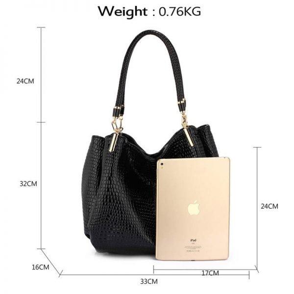 AG00243 – Black Snake – Effect Shoulder Bag-2