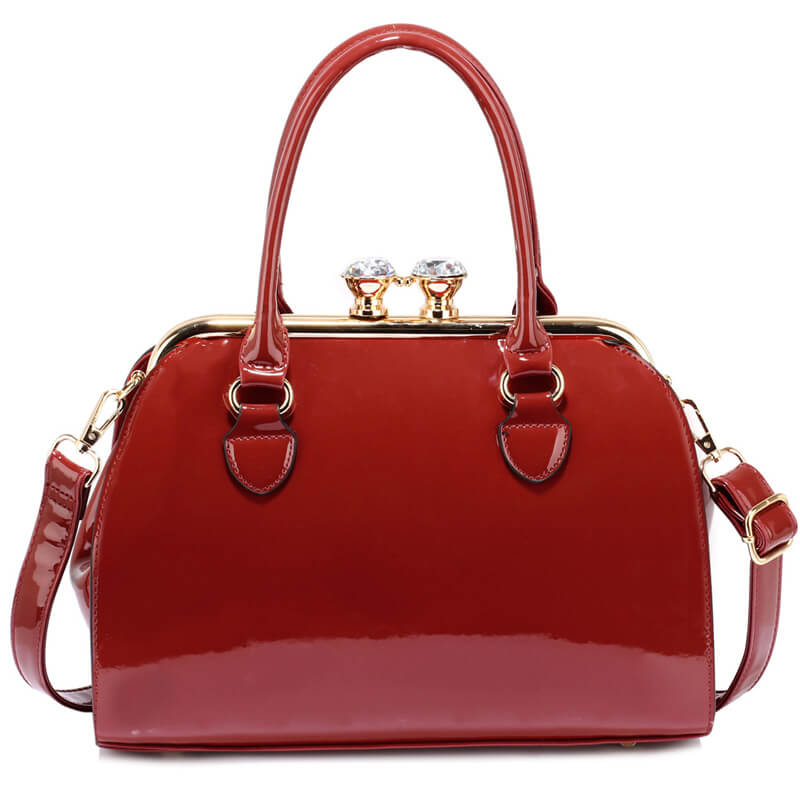 Burgundy Patent Satchel With Metal Frame
