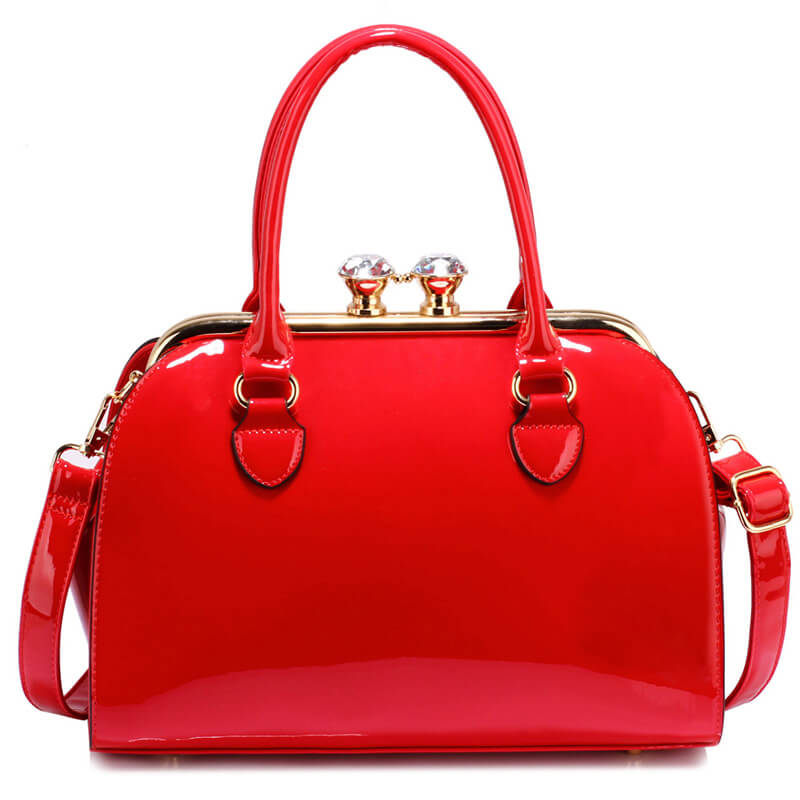 Red Patent Satchel With Metal Frame