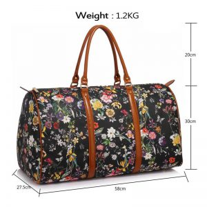 Black Floral Weekend Duffle Bag