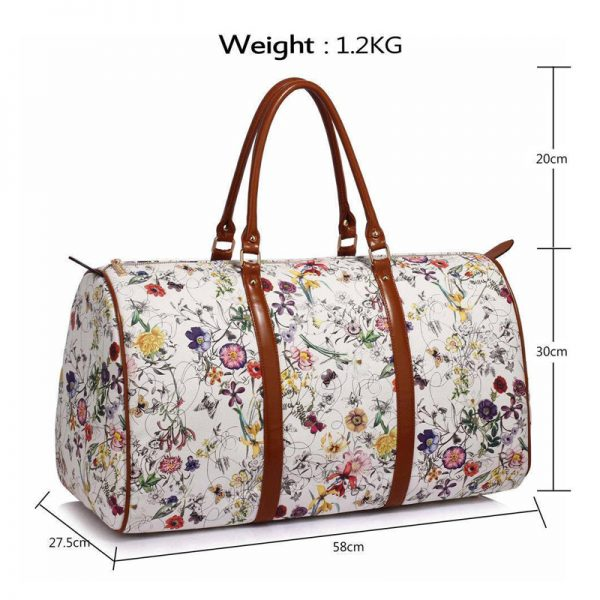 AG00479 – White Floral Weekend Duffle Bag-