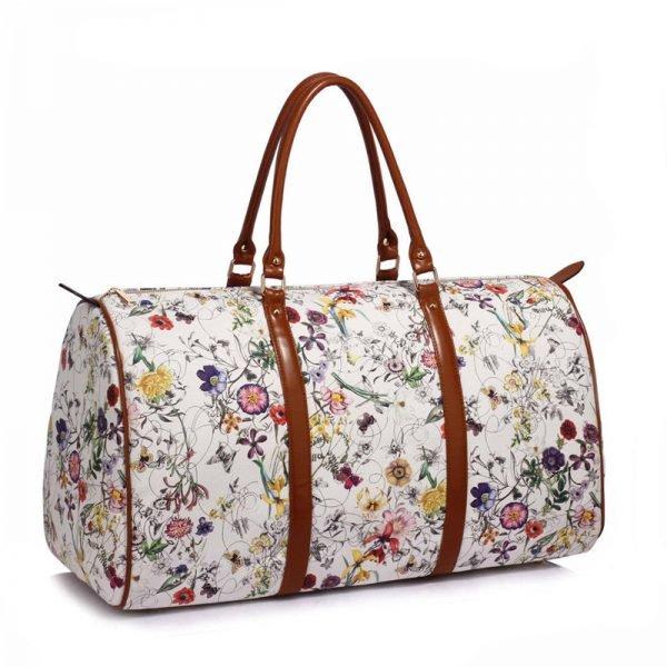 AG00479 – White Floral Weekend Duffle Bag