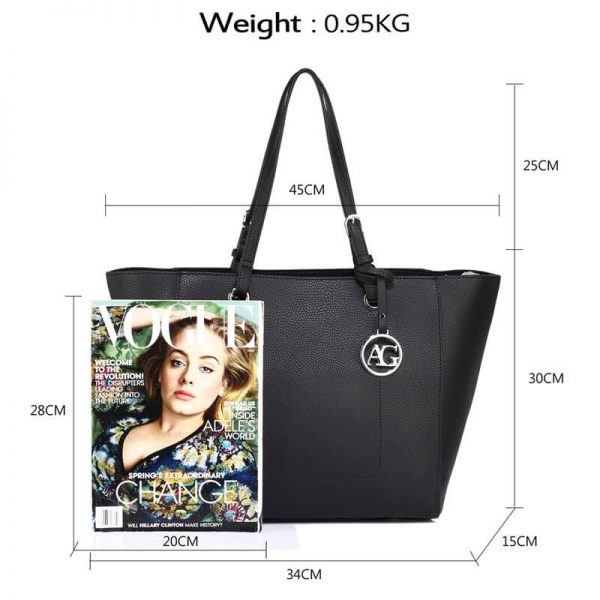 AG00532 – Black Large Tote Shoulder Bag_2_