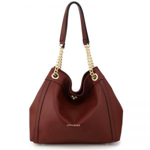 Burgundy Fashion Hobo Shoulder Bag