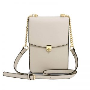 Beige Flap Twist Lock Cross Body Bag
