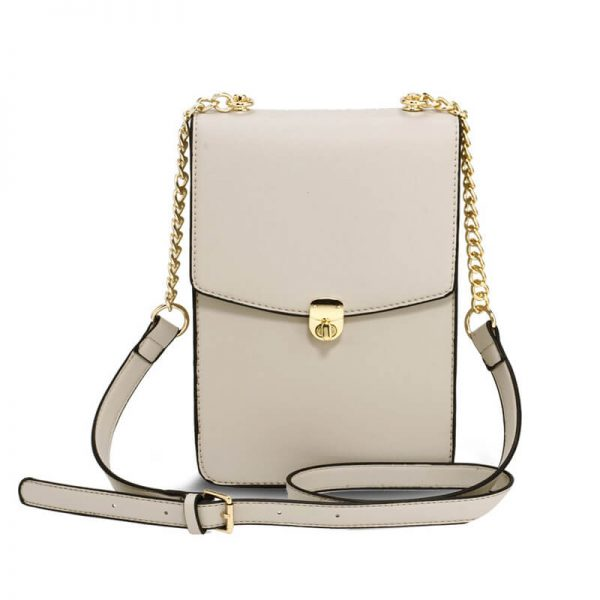 AG00586 – Beige Flap Twist Lock Cross Body Bag_1_