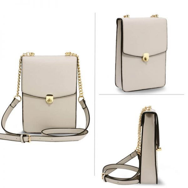 AG00586 – Beige Flap Twist Lock Cross Body Bag_3_