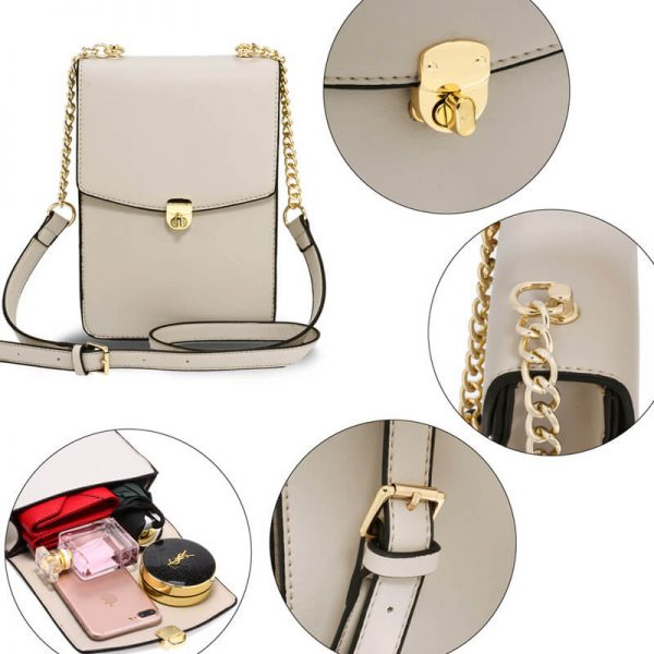 AG00586 – Beige Flap Twist Lock Cross Body Bag_5_