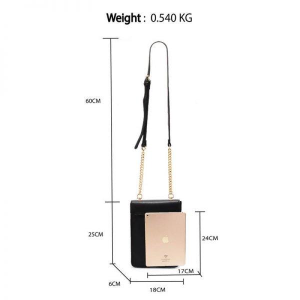 AG00586 – Black Flap Twist Lock Cross Body Bag_2_