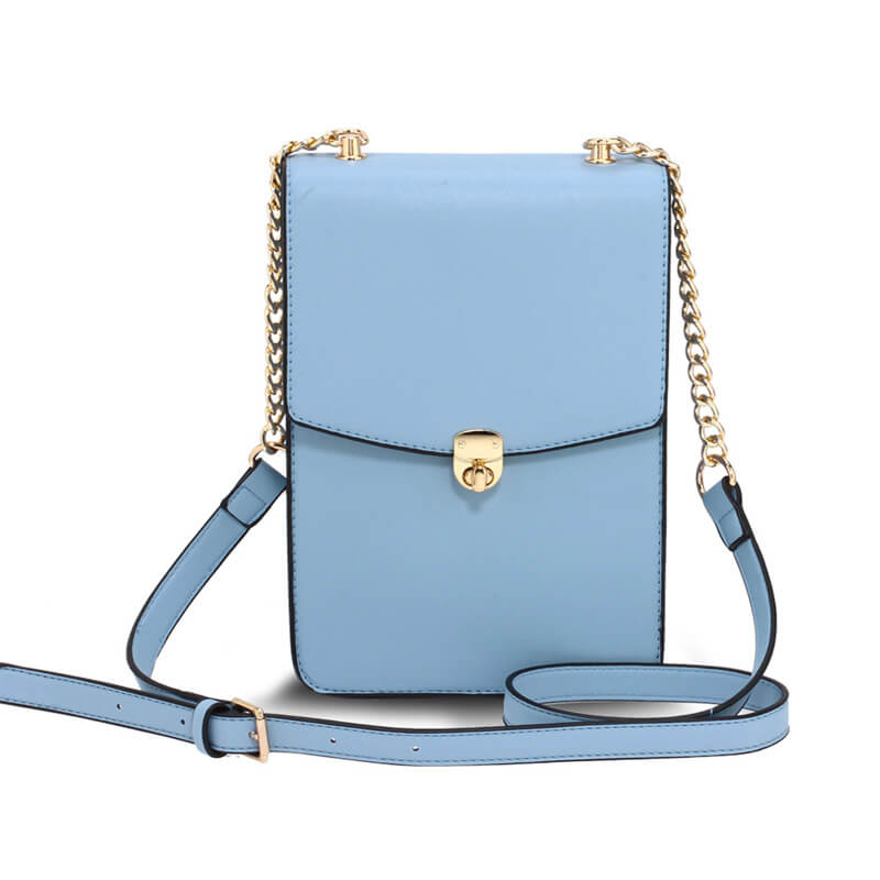 Blue Flap Twist Lock Cross Body Bag