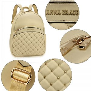 Ivory Quilt & Stud Backpack School Bag